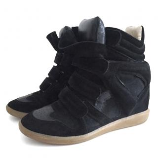 Isabel Marant Etoile Bekett leather and suede wedge sneakers