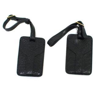 Yves Saint Laurent Black Leather Luggage Tag Set