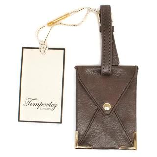 Temperley Brown Leather Luggage Tag