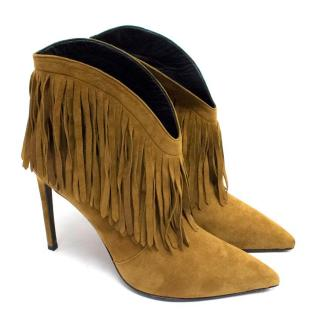Saint Laurent Paris Tan Cuff Fringe Ankle Boots