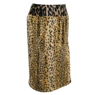 Dries Van Noten Cheetah Print Faux Fur Skirt