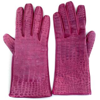Burberry dark red embossed leather gloves