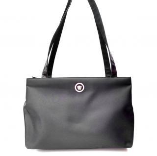 Gianni Versace Vintage Black Shoulder Large Bag.