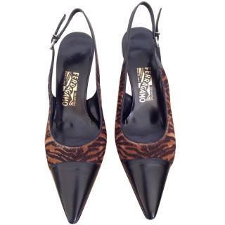 Salvatore Ferragamo pony style calfskin pointed slingback heels