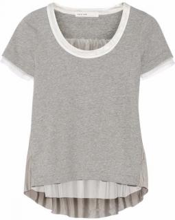 Luck Satin and Mesh Paneled Cotton Jersey T Shirt