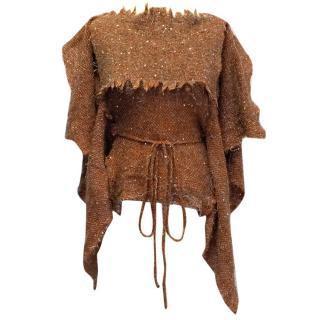 Vivienne Westwood Orange and Brown Wool Blend Sequin Top