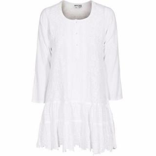 Juliet Dunn Ornate Sequin White embroidered tunic dress