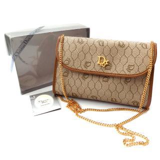 Christian Dior Vintage Beige and Tan Monogrammed Shoulder / Clutch Bag