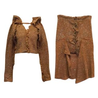Vivienne Westwood Orange and Brown Sequin Skirt and Top