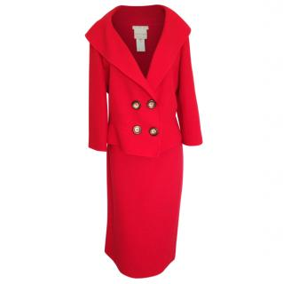 Celine red wool mid length skirt suit