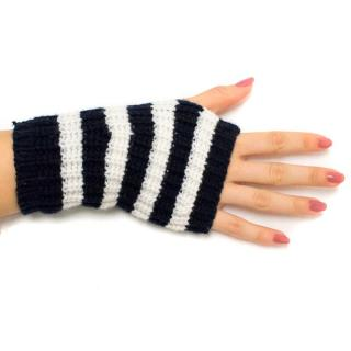 Gucci Navy and White Striped Fingerless Gloves