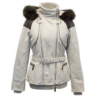 Christian Dior Beige Ski Jacket with Brown Fur Trim Hood