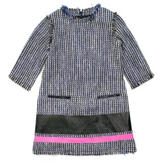 MSGM Girl's Blue, White and Black Tweed Shift Dress