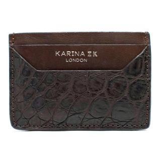 Karina IK Brown Crocodile Skin Card Holder
