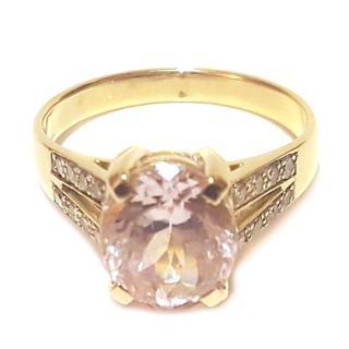 Amazing Kunzite & Diamond Ring 18ct Gold