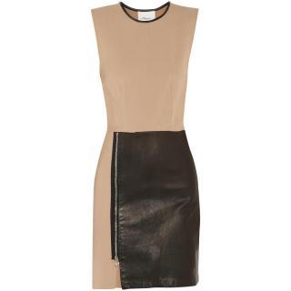 Phillip Lim Dress 3.1 Leather Panelled Wool Blend Mini Dress