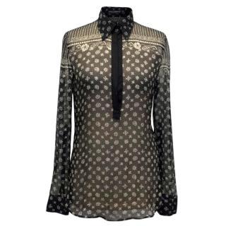 Dolce & Gabbana Black Sheer Patterned Blouse
