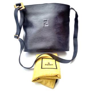 Fendi Vintage Navy very dark blue, navy Leather Bucket Shoulder Bag