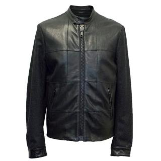 Viktor & Rolf Black Leather and Wool Bomber Jacket