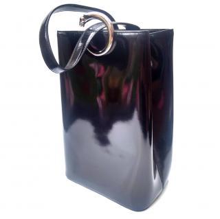 Cartier Panther Vintage Black Glossy Leather Backpack/shoulder bag.