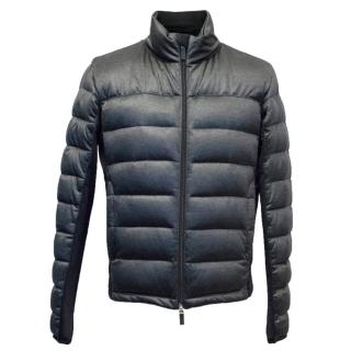 Armani Collezioni Dark Grey and Silver Sheen Puffer Jacket