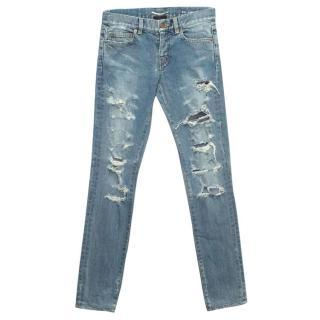 Saint Laurent Blue Destroyed Skinny Jeans