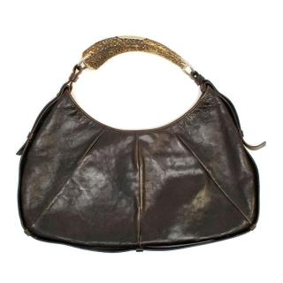 Yves Saint Laurent Brown Leather Horn Handle Bag