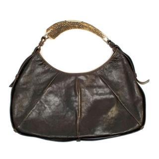 Yves Saint Laurent Brown Leather Horn Handle Bag