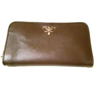 Prada women brown zip around wallet