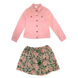 C de C Girl's Denim Jacket and Skirt Set