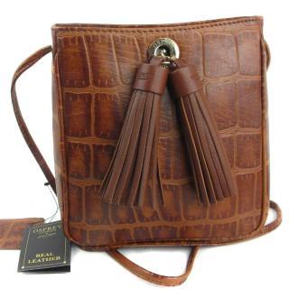 Osprey london Georgie crossbody Bag saddle leather mock croc