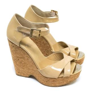 Jimmy Choo Nude Patent Cork Wedge Sandals