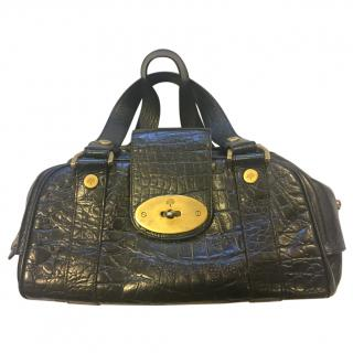Mulberry Black Croc Print Leather Handbag