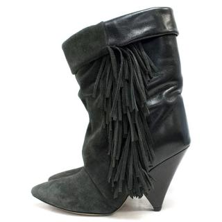 Isabel Marant x H&M Grey Heeled Boots with Tassle Detail