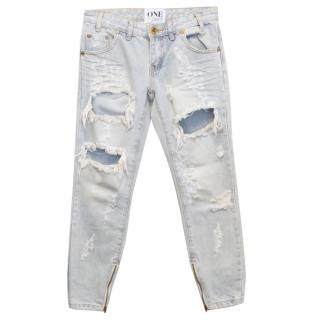 One by One Teaspoon Light Wash Destroyed Jeans