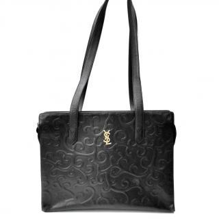 YSL Yves Saint Laurent Vintage Arabesque Black Leather Shoulder Bag