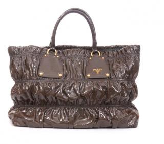 Prada Vernice Gaufre Leather Tote Bag