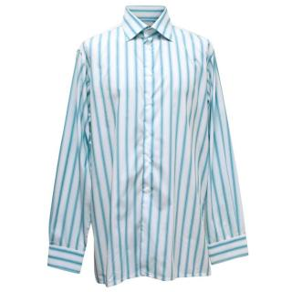 Richard James White and Blue Striped Shirt