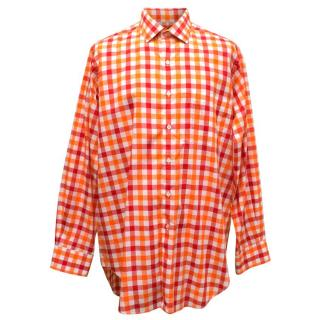 Richard James Red and White Checked Shirt