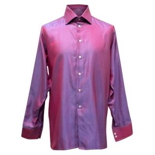 Richard James Shiny Pink and Blue Striped Shirt