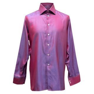 Richard James Shiny Pink and Blue Striped Shirt