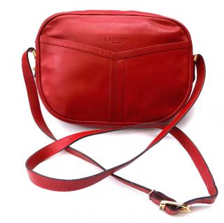 Lanvin Vintage Red Leather Shoulder Bag.