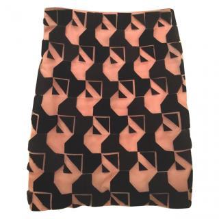 Fendi silk and fur skirt