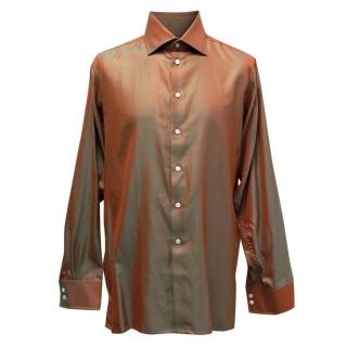 Richard James Shiny Red and Green Striped Shirt
