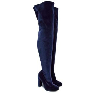 Carvela Blue Velvet Thigh High Boots