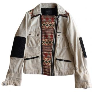 Maison Scotch ethnic style beige cotton blend biker jacket