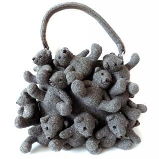 MOSCHINO Vintage Grey Wool Teddy Bears Handbag.