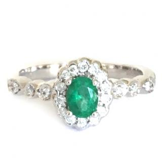 18ct White Gold Emerald & Diamond Cluster Ring