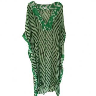 Diane von Furstenberg Nannushka Long Green Zebra Print Kaftan