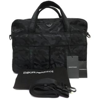Emporio Armani black camouflage briefcase / messenger bag